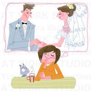 イラストレーターはらゆうこが描いた幸せな結婚のイラスト