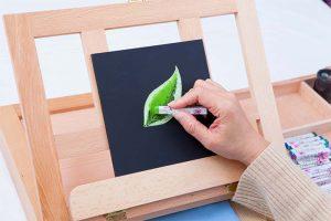 チョークアート作品のプロセス写真