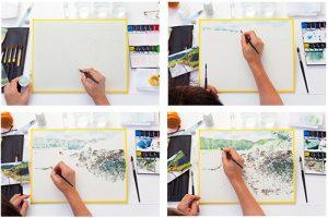 水彩画のプロセス写真