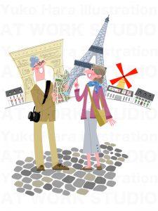 イラスト|海外旅行のシニアカップル|シニアのパリ旅行