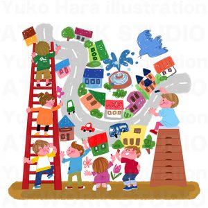 子供,教育イラスト|描こう!僕らの街