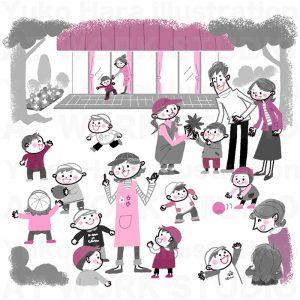 子供,教育イラスト|今日はお外で遊びましょう!|ある日の保育園