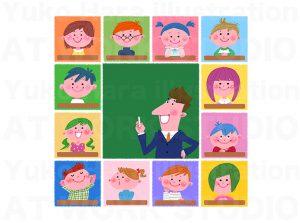 子供,教育イラスト|授業のイメージ|先生と生徒