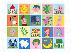 家族,親子,カップルイラスト|家族とハウジングイメージのフレーム