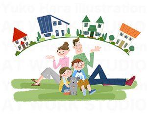 イラスト|いつかは持ち家!それが家族の夢|街並と家族