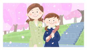 家族,親子,カップルイラスト|卒業式の日の記念写真|卒業式の後の母と娘