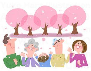 家族,親子,カップルイラスト|春の三世帯家族|お花見の家族