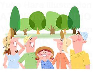 家族,親子,カップルイラスト|夏の3世帯家族|夏休みの家族