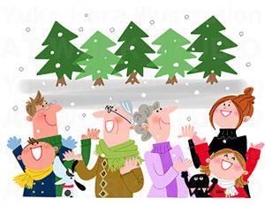 家族,親子,カップルイラスト|冬の3世帯家族|雪と家族