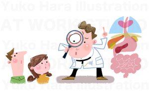 医療系イラスト|健康診断を奨励するお医者様のイラスト作品