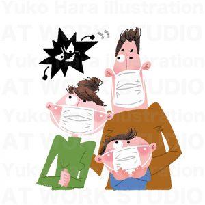医療,健康イラスト|マスクを使ってインフルエンザを予防!