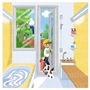 住宅,不動産,建設イラスト|外から直接浴室に