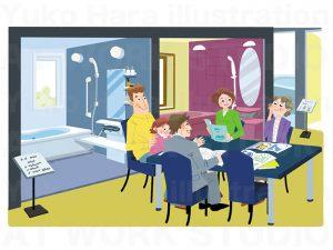 住宅,不動産,建設イラスト|どんなお風呂がご希望ですか?ショールームの家族