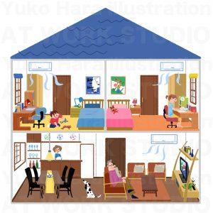 住宅,不動産,建設イラスト|全館空調で全部屋快適に