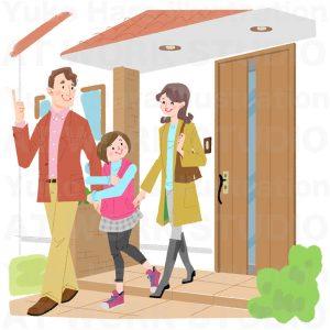 住宅,不動産,建設イラスト|オートロックなら安心