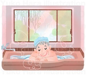 住宅,不動産,建設イラスト|高齢者に優しい浴室|暖房機能のある浴室