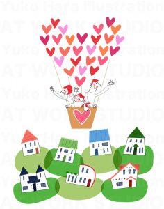 イメージイラスト|家並みとハートの気球に乗った家族