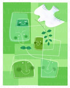 イメージイラスト|グリーンエコロジーイメージ|人と自然と