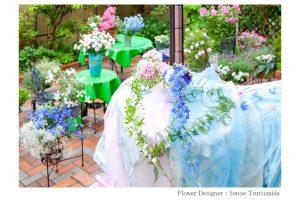 松岡伸一が撮影したハート型のフラワーアレンジメントの写真