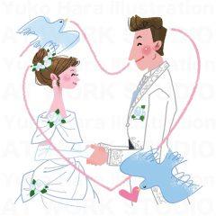 はらゆうこのイラスト作品『結婚』