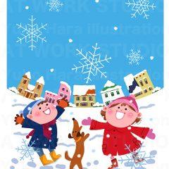 はらゆうこのイラスト作品『雪の日の子供』