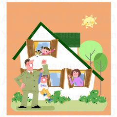 イラストレーターはらゆうこ 『家族のライフスタイル 住宅_01』