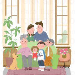 はらゆうこのイラスト作品『おじいちゃんおばあちゃんと一緒!_01』