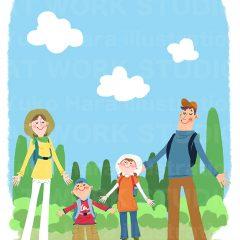 イラストレーションはらゆうこ『家族のピクニック_02』