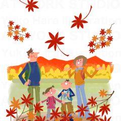 イラストレーションはらゆうこ『秋の行楽の家族_01』