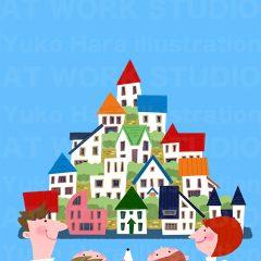 はらゆうこのイラストレーション 『家族のライフスタイル 住宅_04』