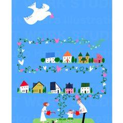 はらゆうこのイラストレーション 『家族のライフスタイル 住宅_05』