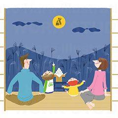 はらゆうこのイラスト作品『お月見する家族』