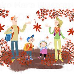 イラストレーションはらゆうこ『秋の行楽の家族_02』