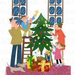 はらゆうこのイラスト作品『クリスマスの家族』