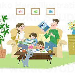 はらゆうこのイラストレーション 『家族のライフスタイル 住宅_03』