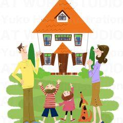 イラストレーターはらゆうこ 『家族のライフスタイル 住宅_02』