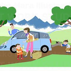 イラストレーションはらゆうこ『家族でドライブ』