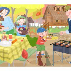 はらゆうこのイラスト作品『家族でバーベキュー』