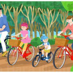 はらゆうこのイラスト作品『家族でサイクリング』