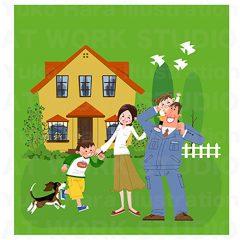 はらゆうこのイラストレーション 『家族のライフスタイル 住宅_07』
