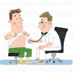 はらゆうこのイラスト作品『健康診断』