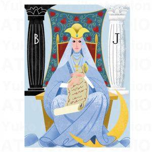 イラストレーターはらゆうこの描いたタロットカード『女教皇』