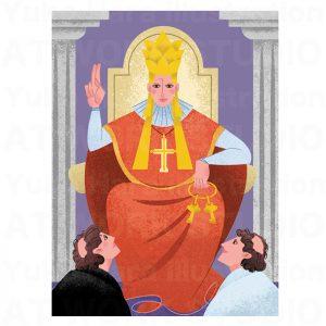 イラストレーターはらゆうこの描いたタロットカード『法王』