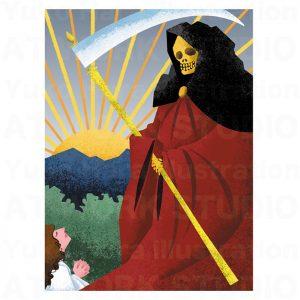 イラストレーターはらゆうこの描いたタロットカード『死神』
