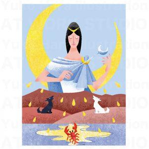 イラストレーターはらゆうこの描いたタロットカード『月』