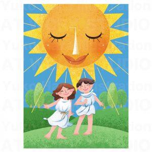イラストレーターはらゆうこの描いたタロットカード『太陽』