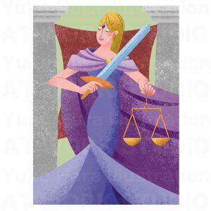 イラストレーターはらゆうこの描いたタロットカード『正義』