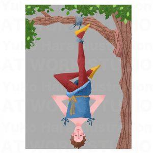 イラストレーターはらゆうこの描いたタロットカード『吊るされた男』