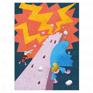 イラストレーターはらゆうこの描いたタロットカード『塔』