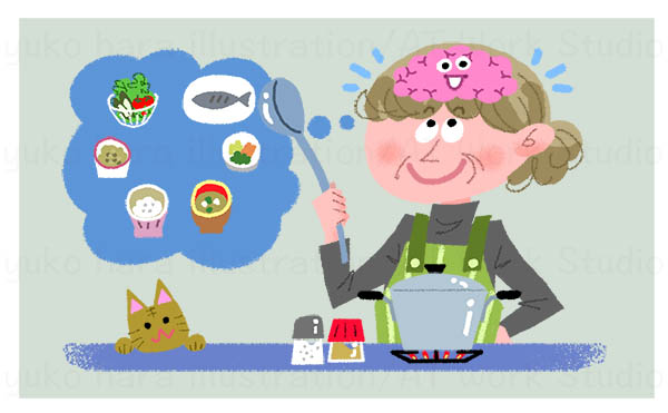 認知症予防のための料理のイラスト
